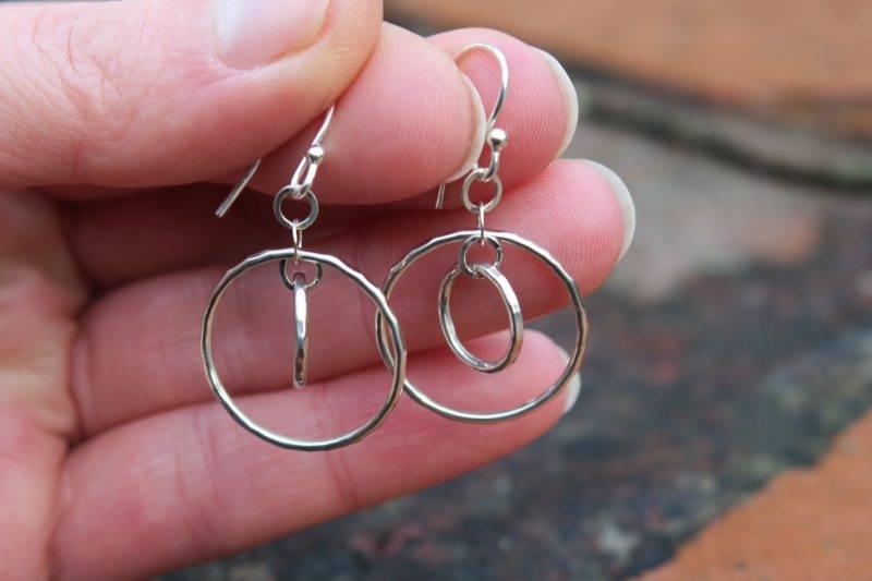 silver double hoops